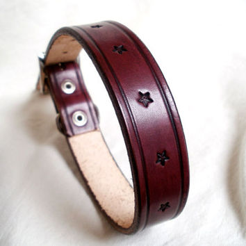 "Tooled leather dog collar, large, 1"" wide, in tan, brown or mahogany, stars, made to order"