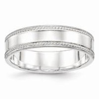 Sterling Silver 6mm Design Edge Wedding Band Ring