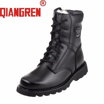 QIANGREN Military Factory-direct Men's Genuine Leather Rubber Wool Black Winter Snow Boots Outdoors Army Tactical Botas Militar