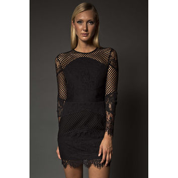 NARCES Sadie Black String Beaded Triangle Pattern Dress