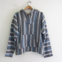 vintage Blue and Gray Striped Baja Hoodie. Hooded pullover.