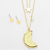 Layered Druzy Moon & Star Pendant Necklace, Rough Crystal Double Necklace