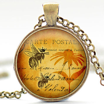 Bee Necklace, Honeybee Art Pendant, Bees and Flowers Charm, Vintage Style Bee Necklace, Bee Jewelry (192)