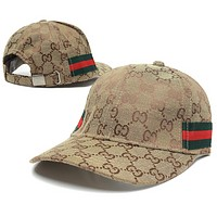 GUCCI Fashion New Stripe More Letter Sun Protection Women Men Cap Hat Khaki