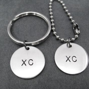 XC Round Nickel Silver Pendant Key Chain / Bag Tag - Choose 4 inch Ball Chain or Round Key Ring - Available only at The Run Home - Cross Country Key Chain