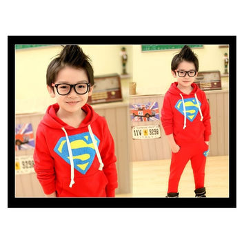 children clothes Spring baby boys Superman sets sports hoodie+pants kids cumtome jogging clothing sets FW214 = 1946274820