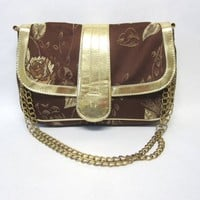 Gold Brown Embroidered Purse Newport News Handbag