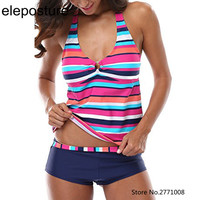 Colorful Stripes Tankini With Shorts Push Up Bikini Set Halter Strappy Swimwear Women High Waist Swimsuit Brazilian Bathing Suit