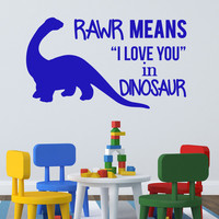 Rawr means I love you in dinosaur children's wall decal quote