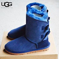 UGG New Fashion Solid Color Women Bow-Knot Fur Keep Warm Shoes Boots