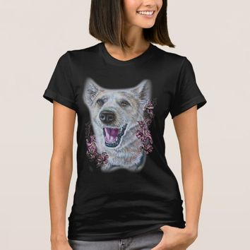 Drawing of White Dog and Lilies Art T-Shirt