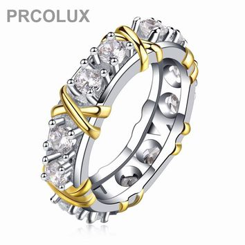 PRCOLUX Vintage Female Geometric Ring Set 925 Sterling Silver jewelry White CZ Wedding Engagement Rings For Women Gifts XA021