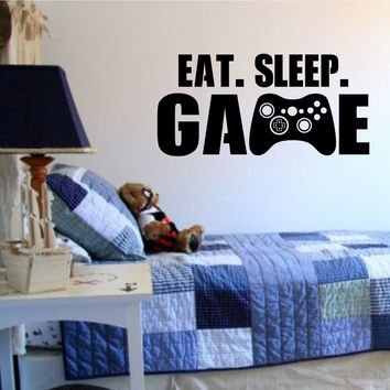 Eat Sleep Game Version 101 Gamer Video Game Decal Sticker Wall Boy Girl Teen