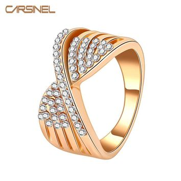 CARSINEL Brand Gold-color Engagement Ring Bow-Knot Crystal Lovers Promise Ring for Women Men Wedding RI0065