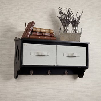 Danya B Entryway Storage Wall Shelf with Canvas Bins and Hooks