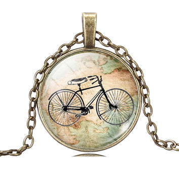 Vintage Bicycle & Map Necklace