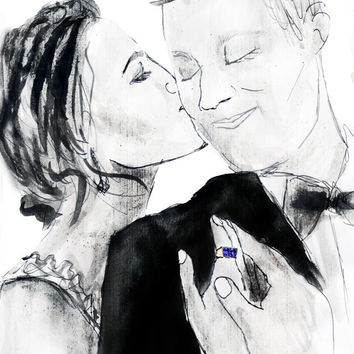 Sweet wedding gift. Wedding portrait painting. Illustration wedding gift a sketch wedding present. Custom wedding ideas for couple