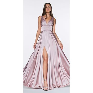 Cinderella Divine 7469 Sexy Long Prom Dress Dark Mauve Evening Satin Gown