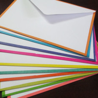 Minimal cards and envelopes, bordered with colorful washi tape (pack of 10)