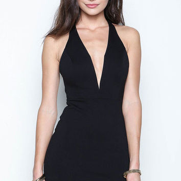 Black V-neck Backless Mini Dress
