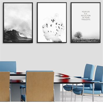 Wall Art Mountain Landscape Sea Leaf Canvas Art Print Painting Poster Nordic Style Wall Pictures for Home Decoration Wall Decor
