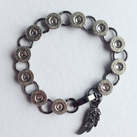 Bullet jewelry. Bullet bracelet with wing charm