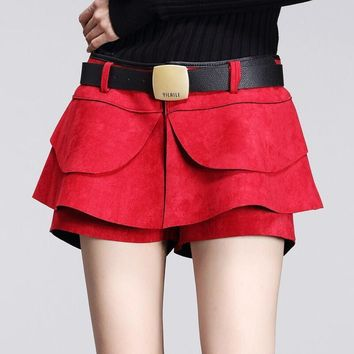 new 2015 fashion autumn winter culottes crochet shorts skirts high waist Pleated Solid