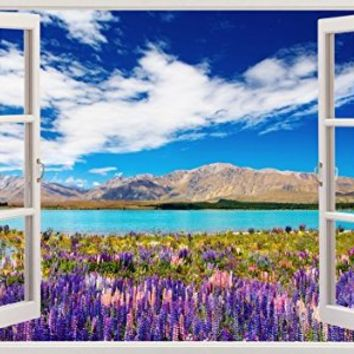 "Colorful Lake Nature Outdoors Landscape Home Office Kitchen Kids Nursery Room Gift 3D Unique Window Depth Style Vinyl Print Removable Wall Sticker Decal Mural Size 19.6"" x 27"" by Bomba-Deal"