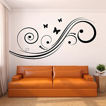 Swirl Lines and Butterflies Vinyl Wall Decal Sticker Graphic