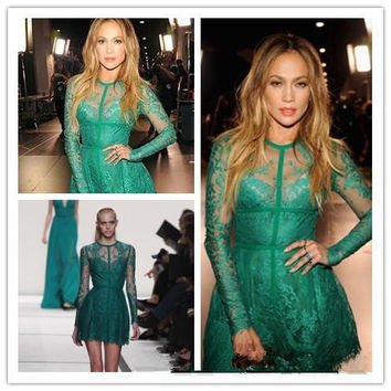 Fashion Emerald Green Short Robe De Cocktail Dresses 2016 Sheer O-Neck Long Sleeves Mini Vestidos De Coctel For Party Club