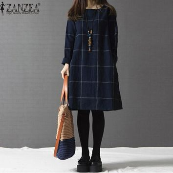 ZANZEA 2017 Autumn Women Plaid Dress Vintage Casual O neck Long Sleeve Pockets Loose Dresses Plus Size Cotton Linen Vestidos