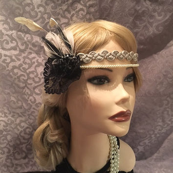 1920s style tan black beige lace rhinstone gold braided feather flapper headband headpiece art deco Gatsby Head Band Hair Piece 20s (695)