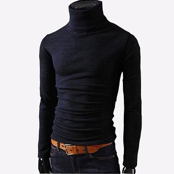 Mens Sweaters Casual Male turtleneck Man's Black Solid Knitwear Slim Fit Brand Clothing Sweater