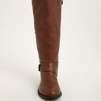 Quilted Side Zip Buckle Knee-High Boots (Wide Width & Wide Calf)