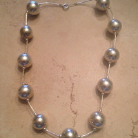 Vintage Liquid Silver Sterling Ball Necklace 925 Jewlery
