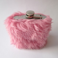 Pink Furry Kawaii Flask, Super Fluffy Pastel Grunge Hip Flask, INCLUDING 6oz FLASK, Pale Grunge Lolita Sorority Whiskey Case, 21st Birthday