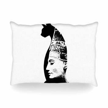 "Ivan Joh ""Cat Egyptian"" Black White Illustration Oblong Pillow"