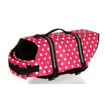 Dog life Jacket Safer Vest Swimming Jacket Flotation Float life Jacket Pink Point XXS