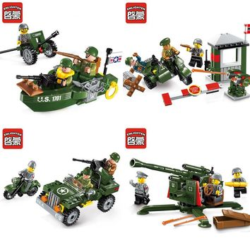 ENLIGHTEN Second World War Military Series Soviet Red Army US Soldiers German Waffen Model Building Blocks Compatible Legoe