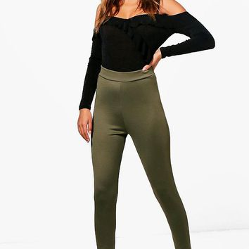 Eve High Waist Basic Scuba Legging | Boohoo