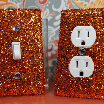 SET Chunky BRONZE Glitter Swichplate Outlet Covers ALL Styles