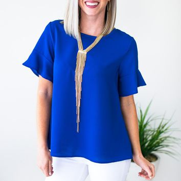 Watching the Clock Flutter Sleeve Top in Royal