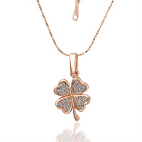 Good Luck Four Leaf Clover Gold Necklace