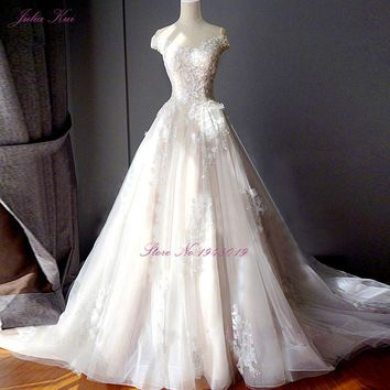 Scalloped Neckline Inner Champagne Satin Outside Ivory Lace Wedding Dress