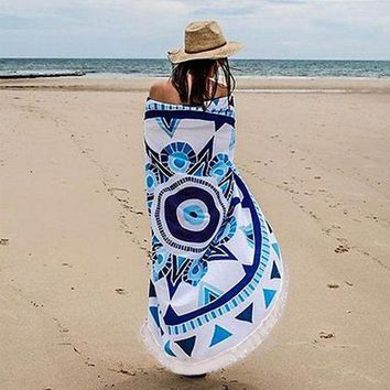 Round Indian Mandala Tapestry Wall Hanging Boho Beach Towel Scarf Shawl Yoga Mat Bedspread Tablecloth Home Decor Polyester 150cm