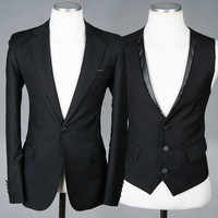 Slim Fit Modern Design Men Fashion Black Three Pieces Suit Set