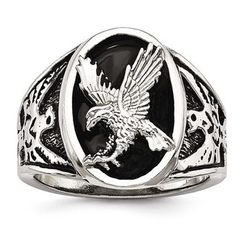 Stainless Steel Polished & Enameled Eagle Men's Ring