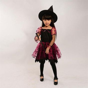 DCCKH6B Halloween Children Kids Baby Girl Witch Skirt + Hat Cosplay Costume Performance Clothes