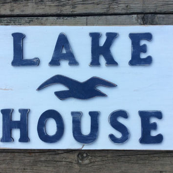 Lake House Sign with Seagull- Wood Wall Art, Reclaimed Pallet Wood