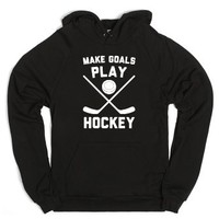 Make Goals Play Hockey-Unisex Black Hoodie